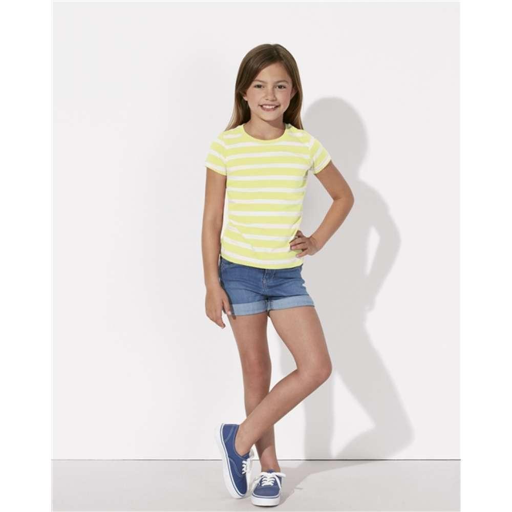 Детска тениска от органичен памук в бяло и жълто
