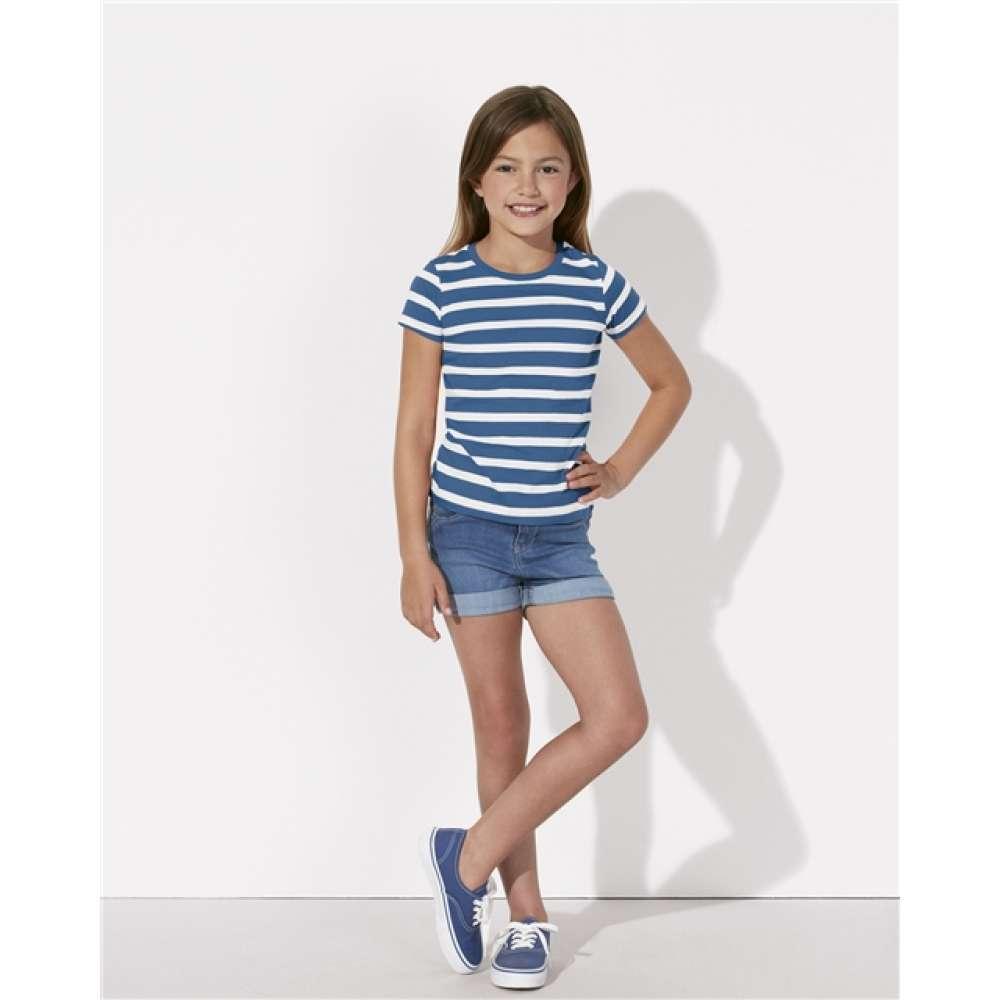 Детска тениска от органичен памук в бяло и синьо