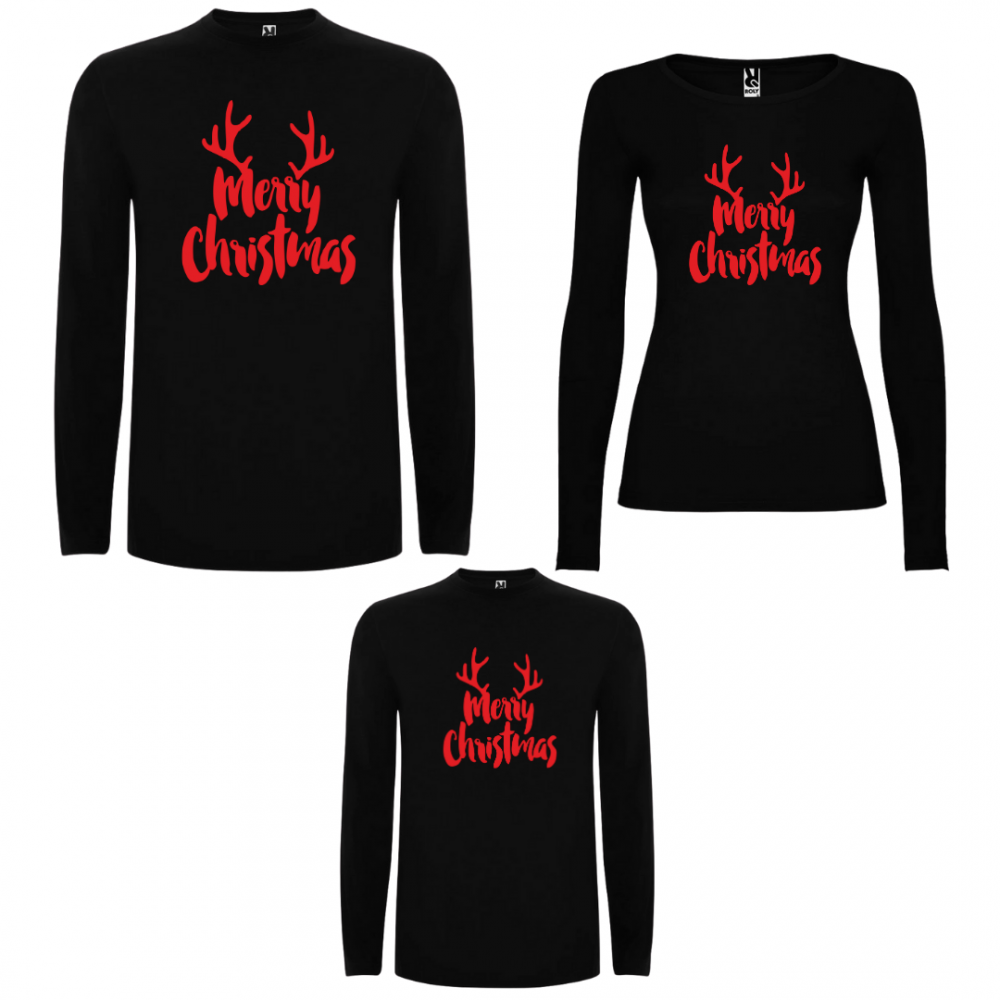 Семеен комплект тениски с дълги ръкави в бяло или черно Merry Christmas RED Edition