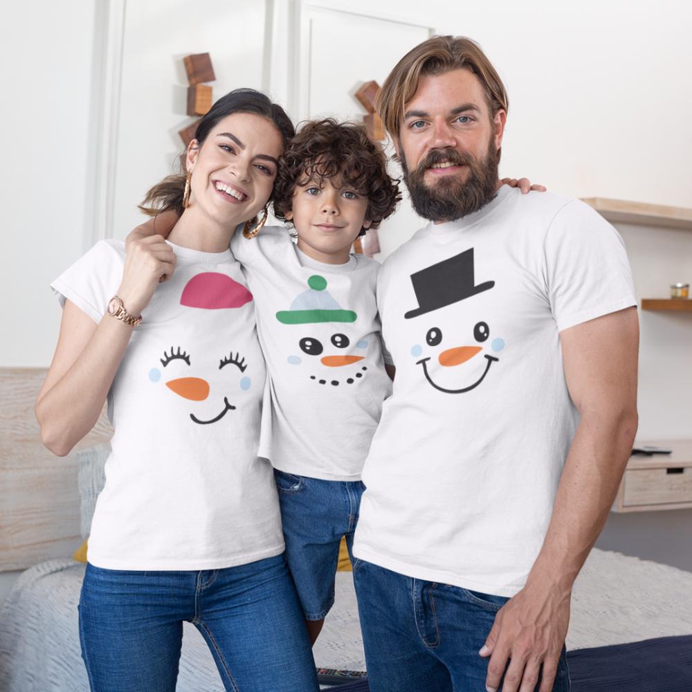 Коледен семеен комплект в бяло Merry Christmas Happy Family