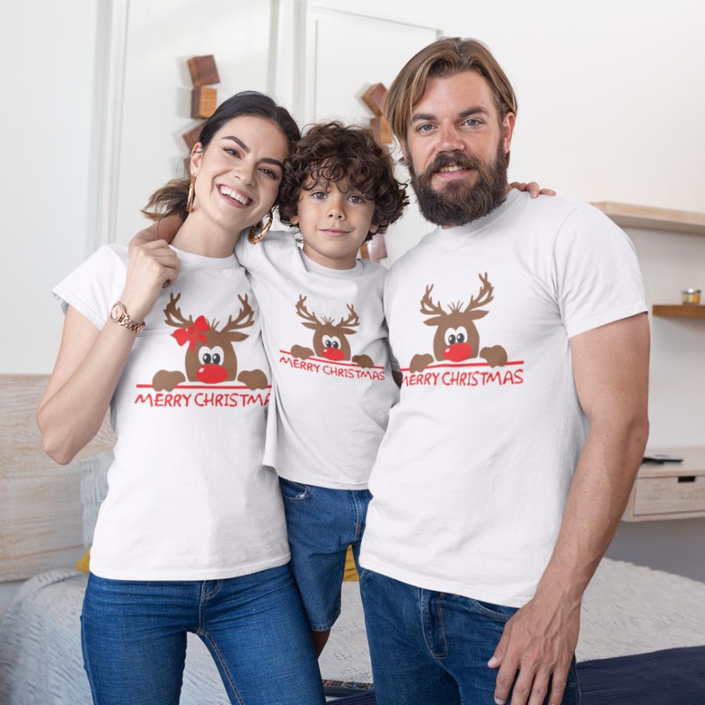 Коледен семеен комплект в бяло Merry Christmas Hiding Deer