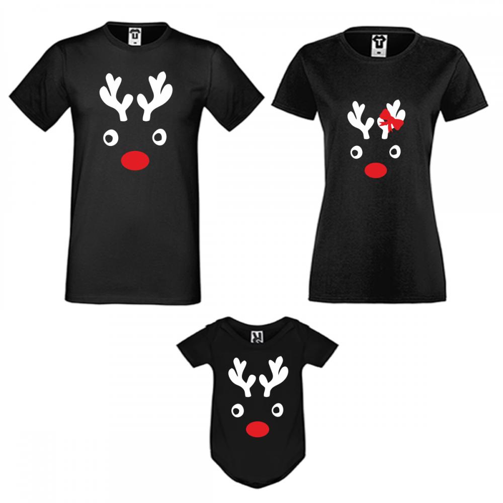 Коледен семеен комплект в черно Christmas Elk