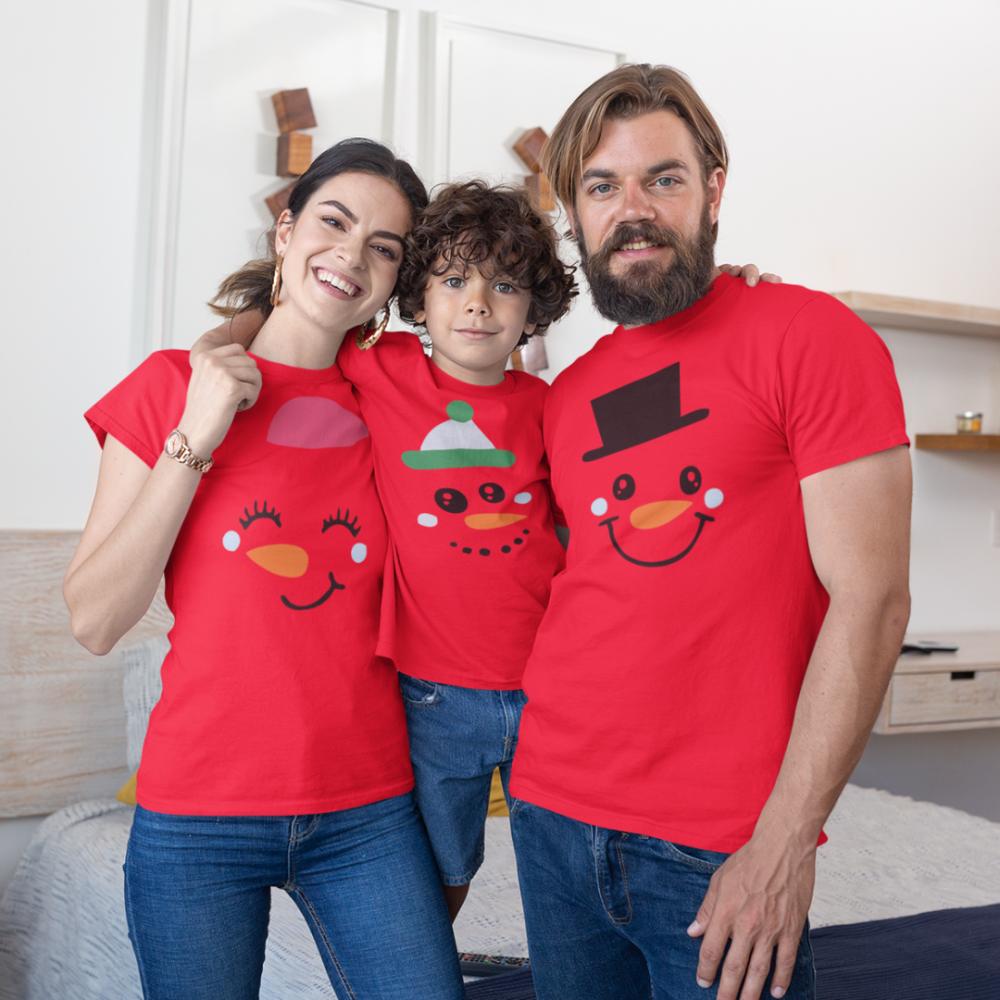 Коледен семеен комплект в червено Merry Christmas Happy Family