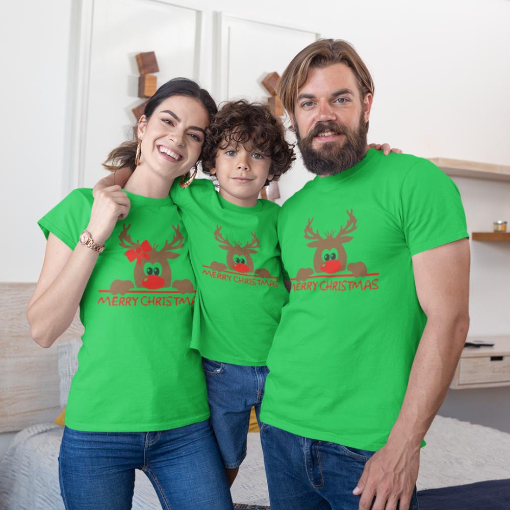 Коледен семеен комплект в зелено Merry Christmas Hiding Deer