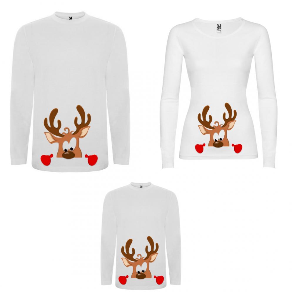 Семеен комплект тениски с дълги ръкави в бяло или черно Curious Deer Family
