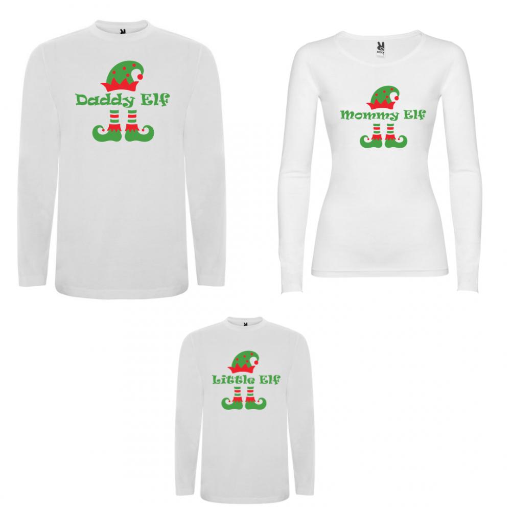 Семеен комплект тениски с дълги ръкави в бяло или черно ELF Family