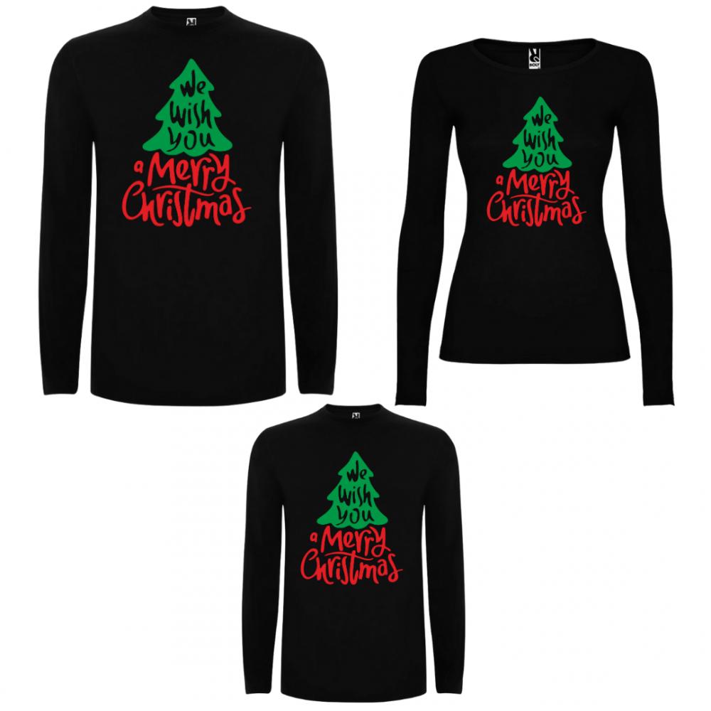 Семеен комплект тениски с дълги ръкави в бяло или черно We wish you a Merry Christmas
