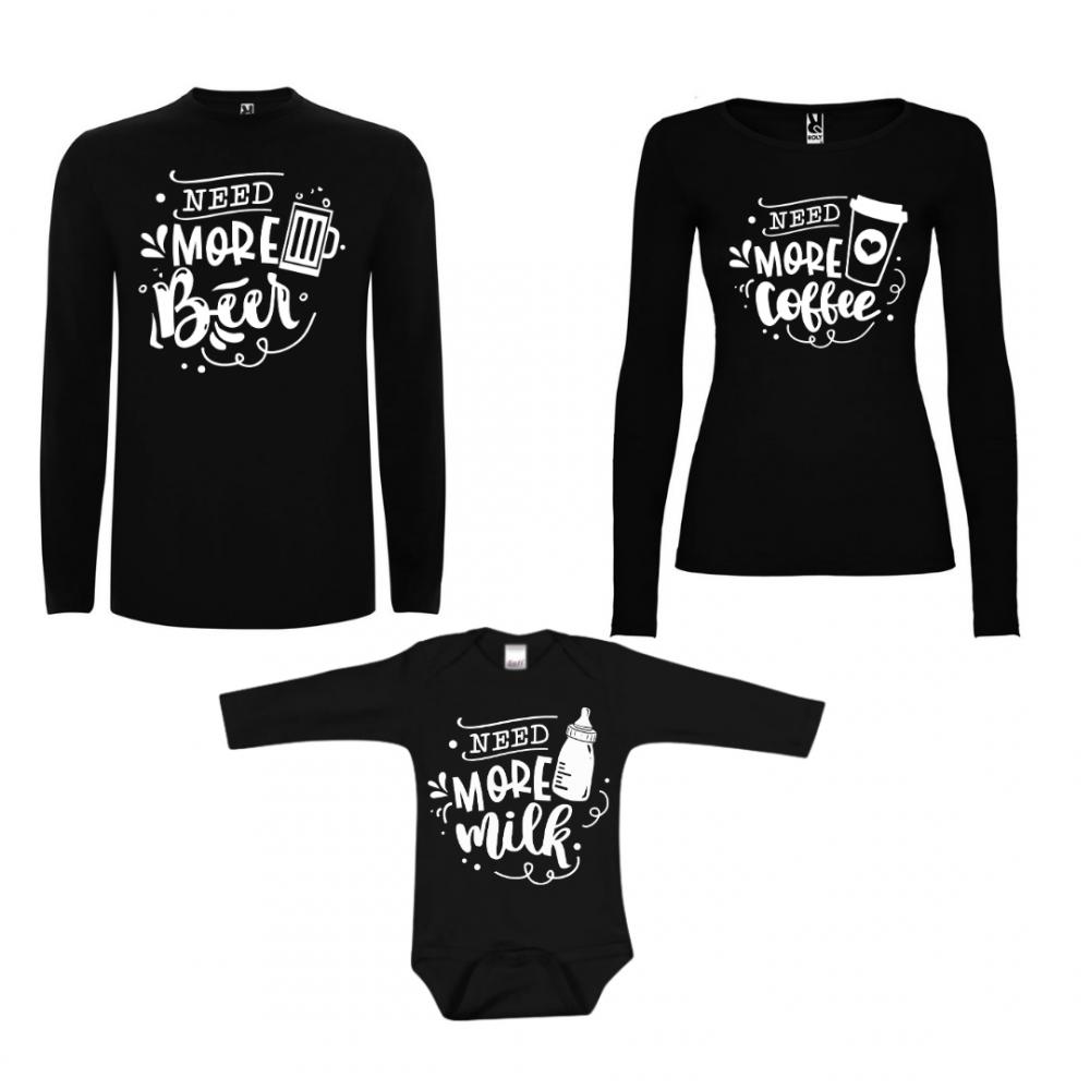 Семеен комплект тениски с дълги ръкави в черно Family Needs