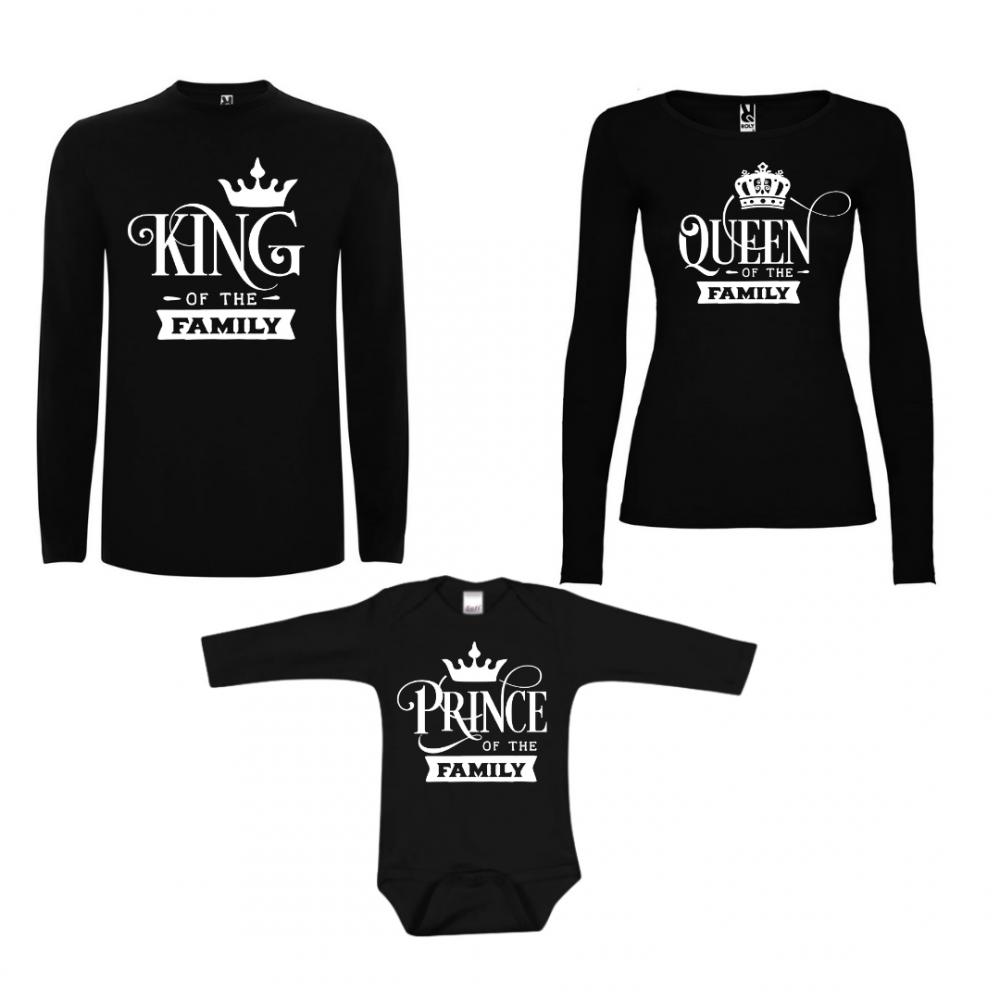 Семеен комплект тениски с дълги ръкави в черно Prince of the Family