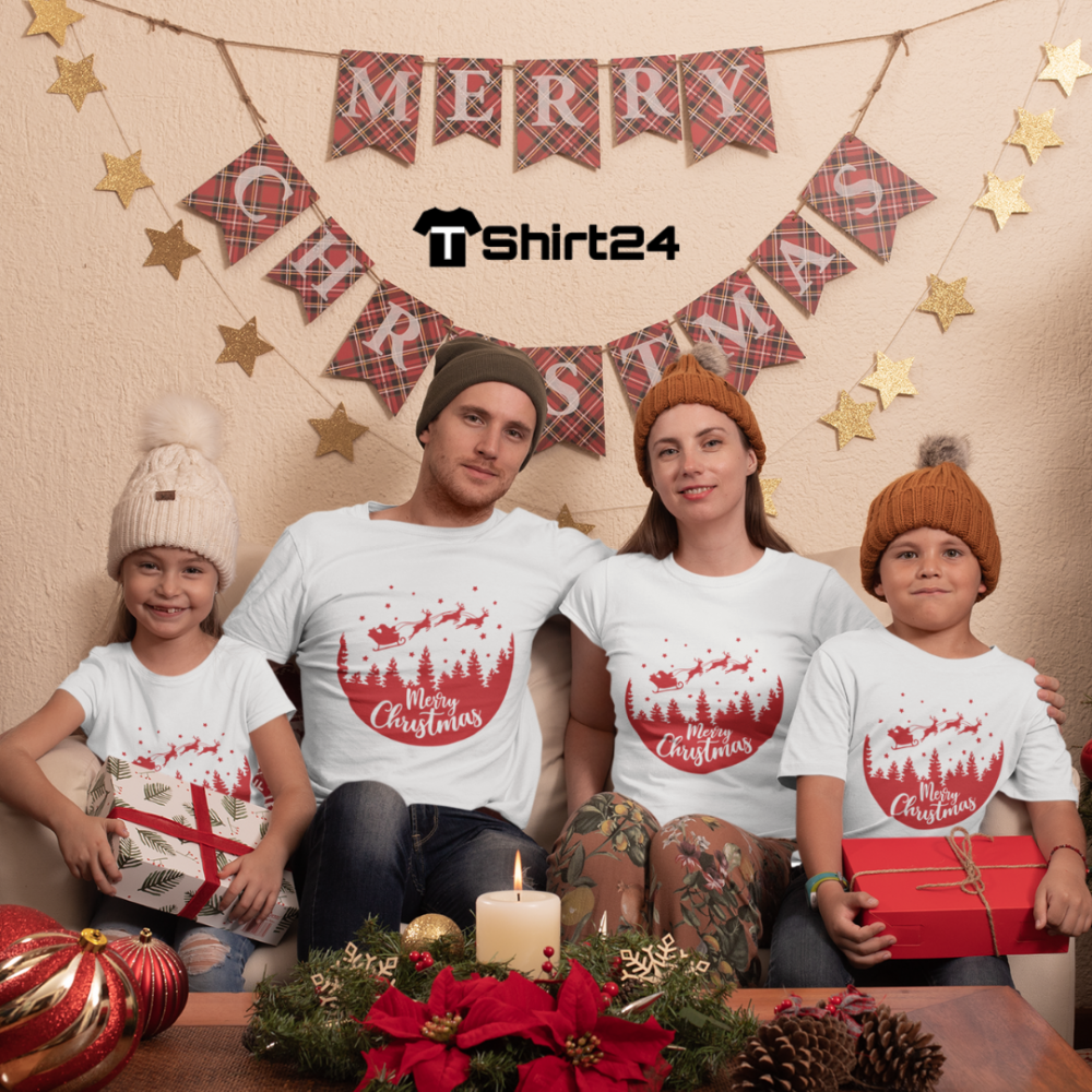 Семеен комплект в бяло Merry Christmas Night Ride