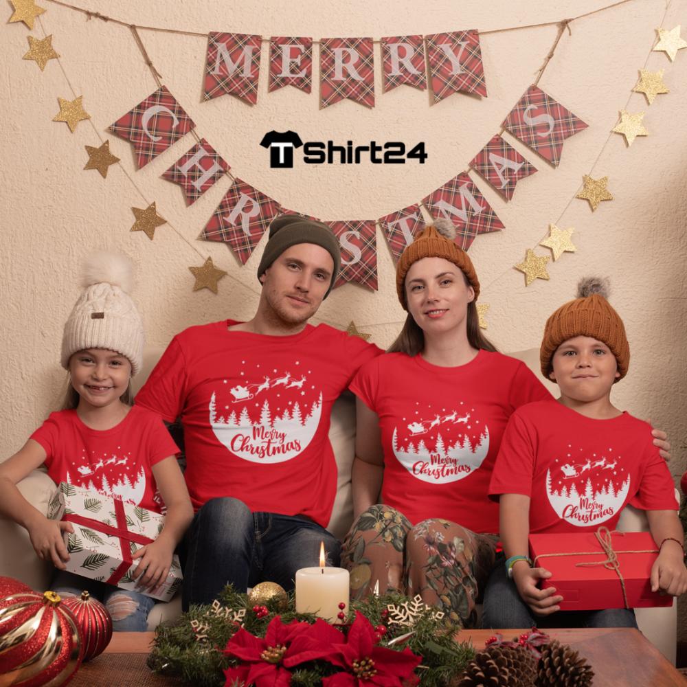 Семеен комплект в червено Merry Christmas Night Ride