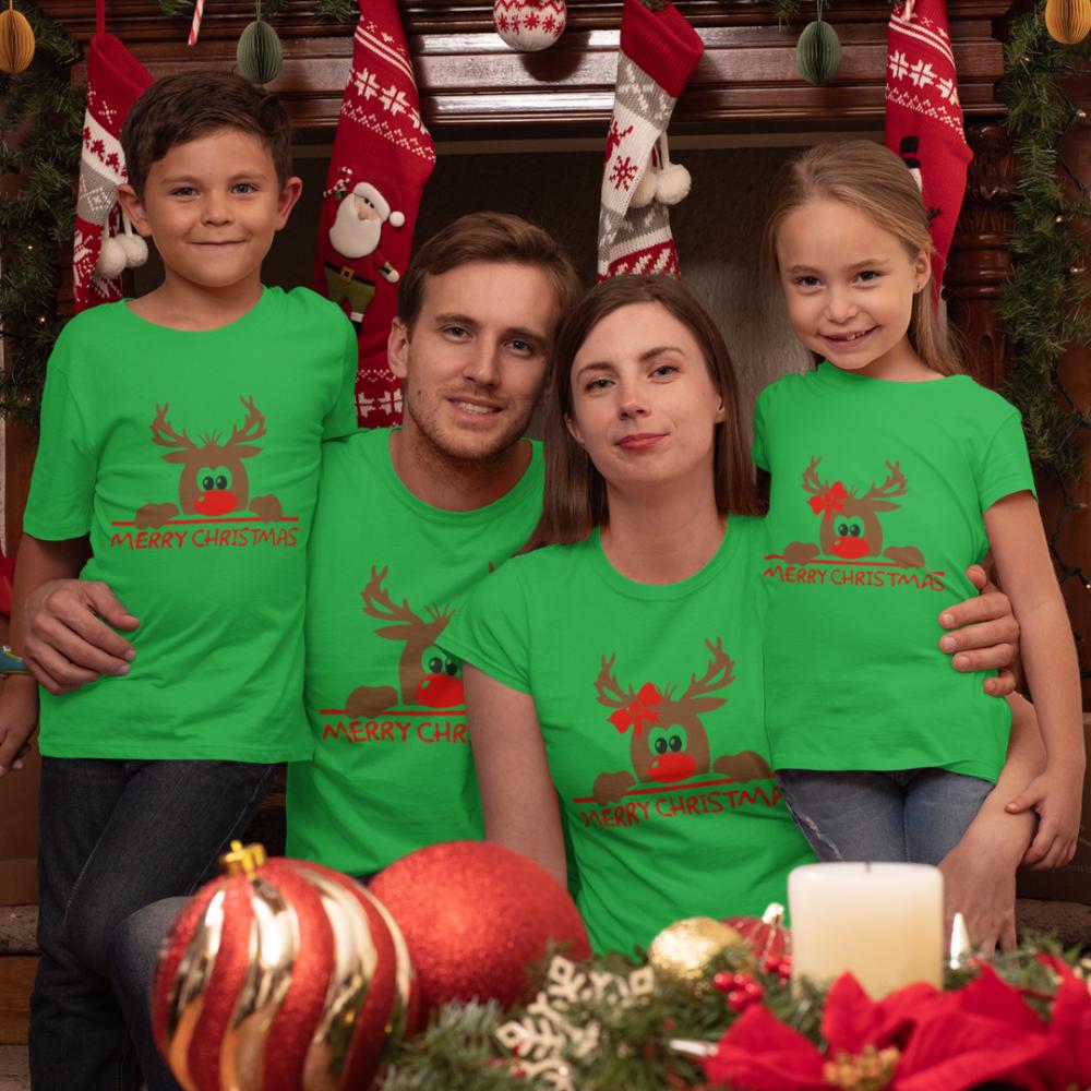 Семеен комплект в зелено Merry Christmas Hiding Deer