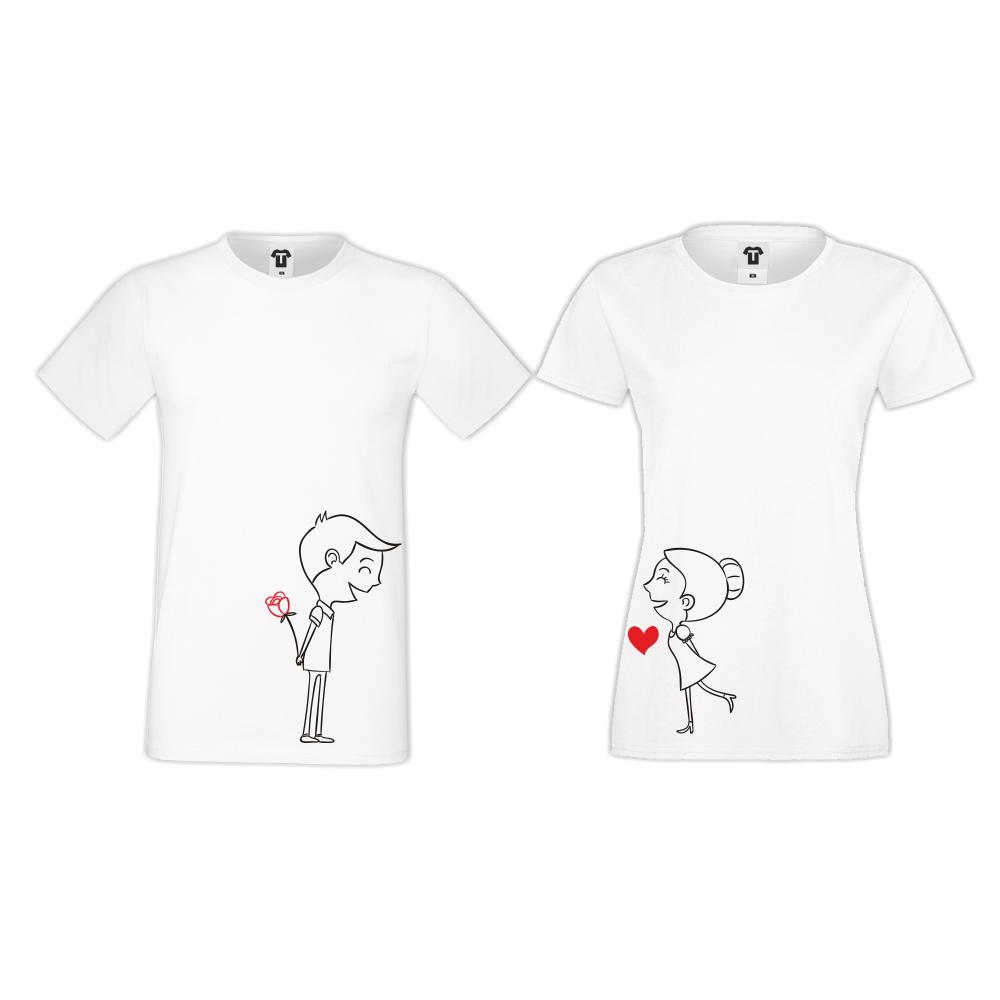 Тениски за двойки в бяло Boy and Girl