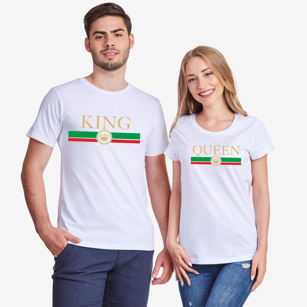 Тениски за двойки в бяло King - Queen RG