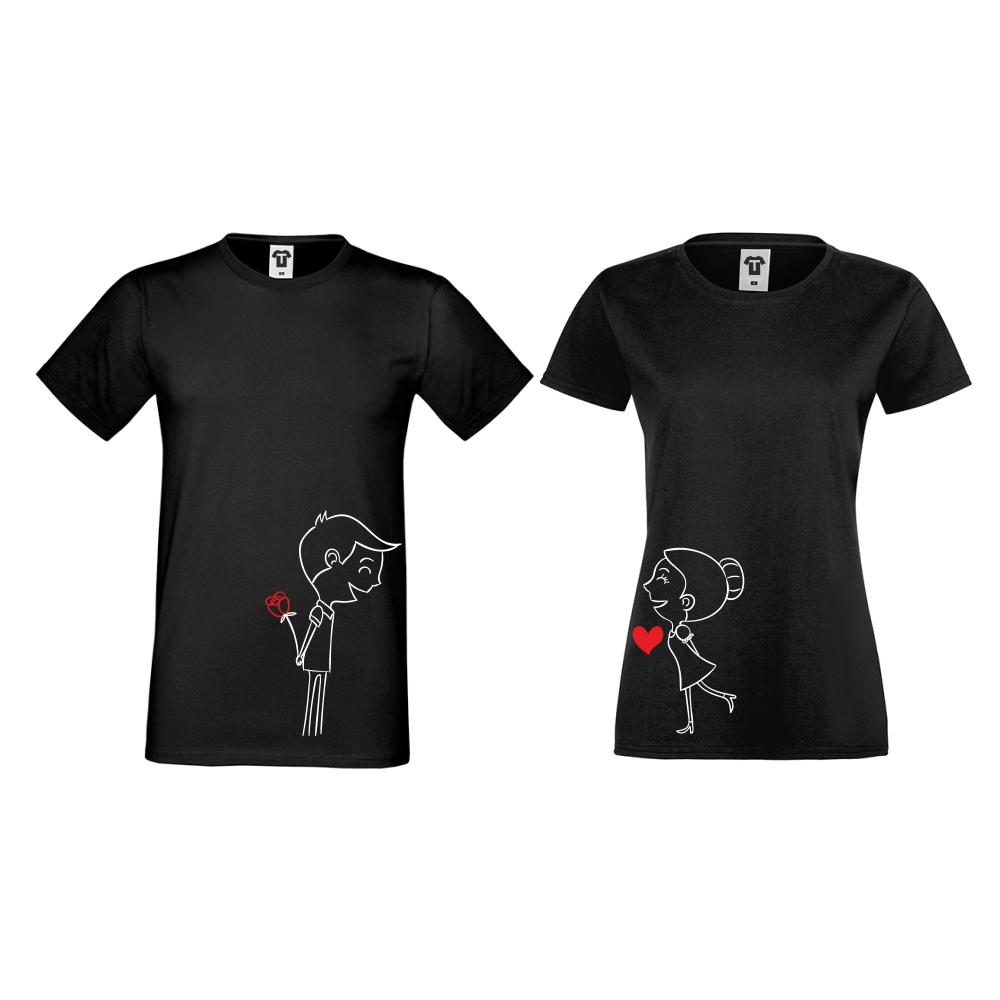 Тениски за двойки в черно Boy And Girl