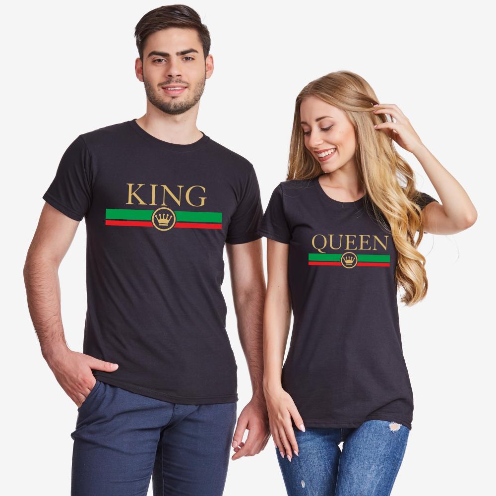Тениски за двойки в черно King - Queen RG