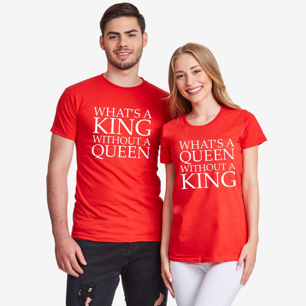 Тениски за двойки в червено What is a queen without a KING