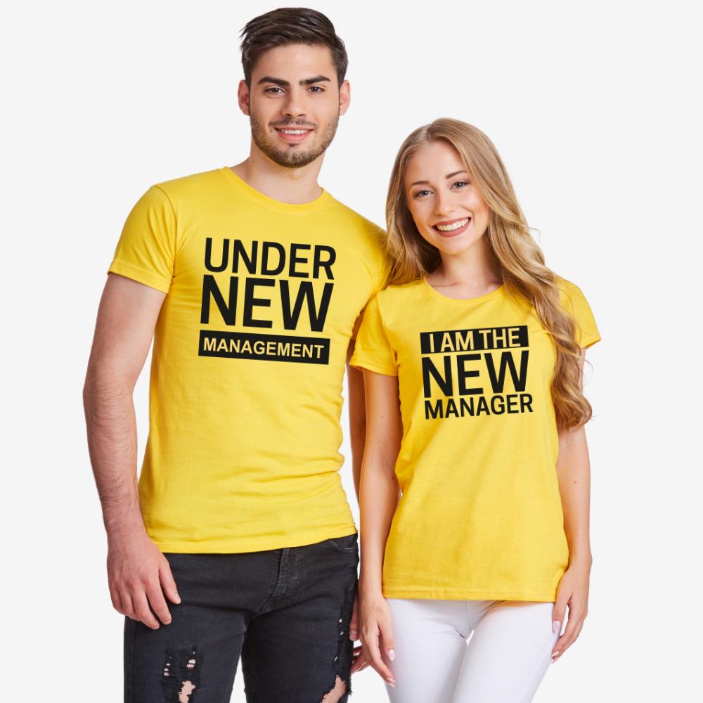 Тениски за двойки в жълто New Manager