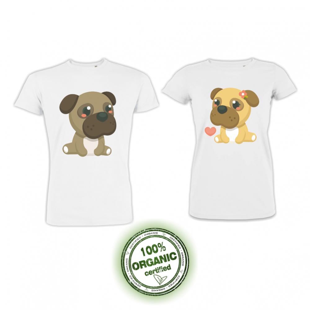 Тениски за двойки в бяло с принт Dogs