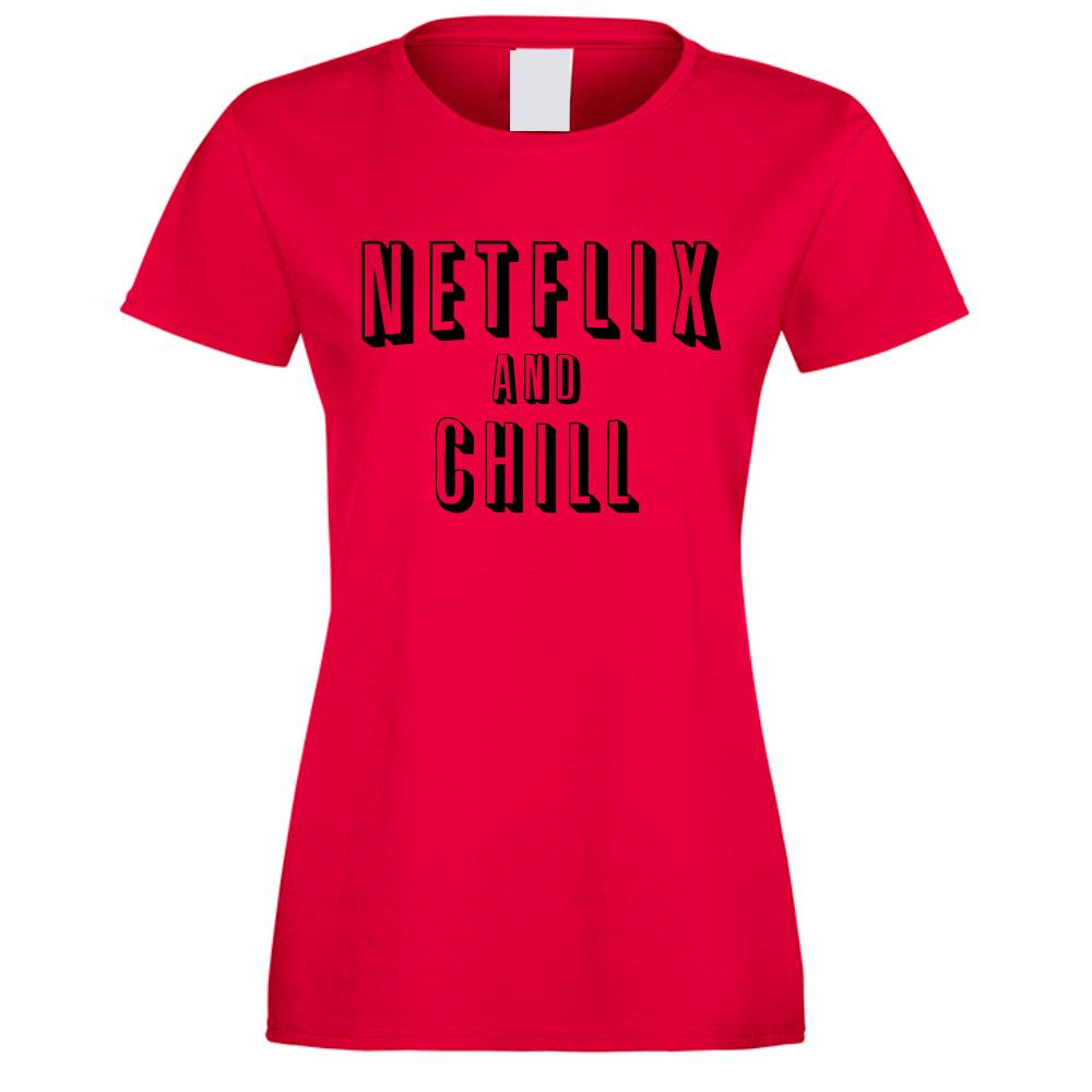 Червена Дамска Тениска Netflix and Chill