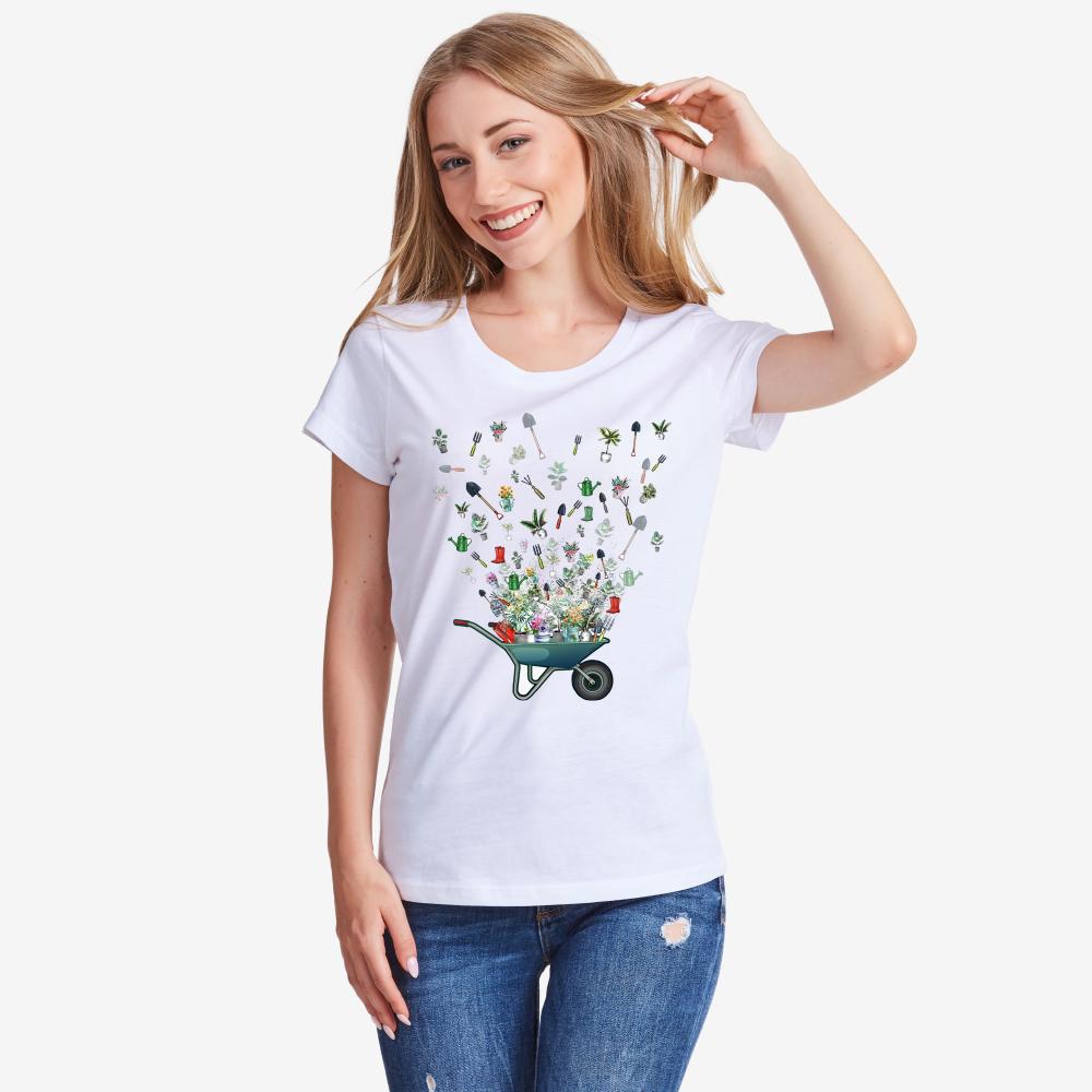 Дамска Тениска с принт Градинарство от органичен памук