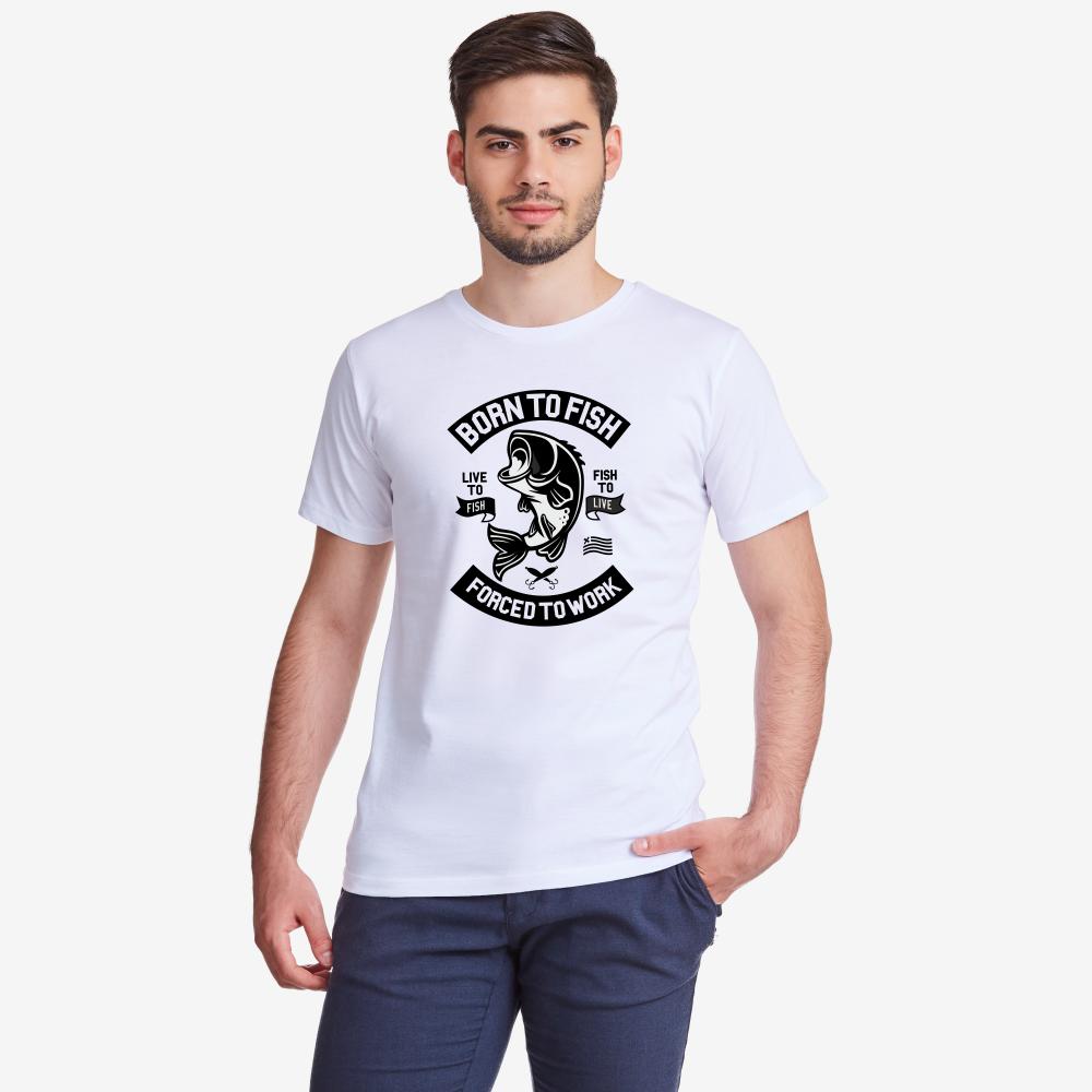 Мъжка бяла тениска Born To Fish 2