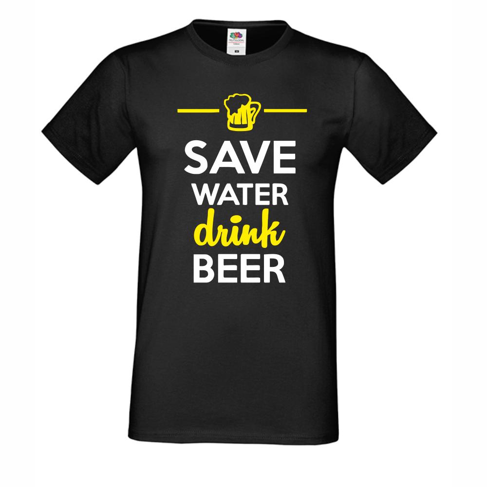 Мъжка Черна тениска Save Water Drink Beer