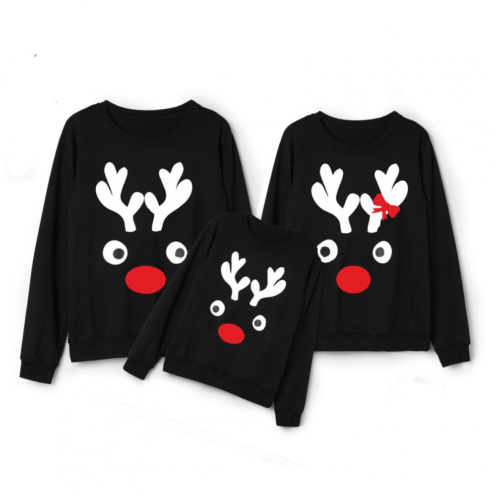 Комплект блузи в черно за мама, татко и дете Christmas Elk, Family Edition