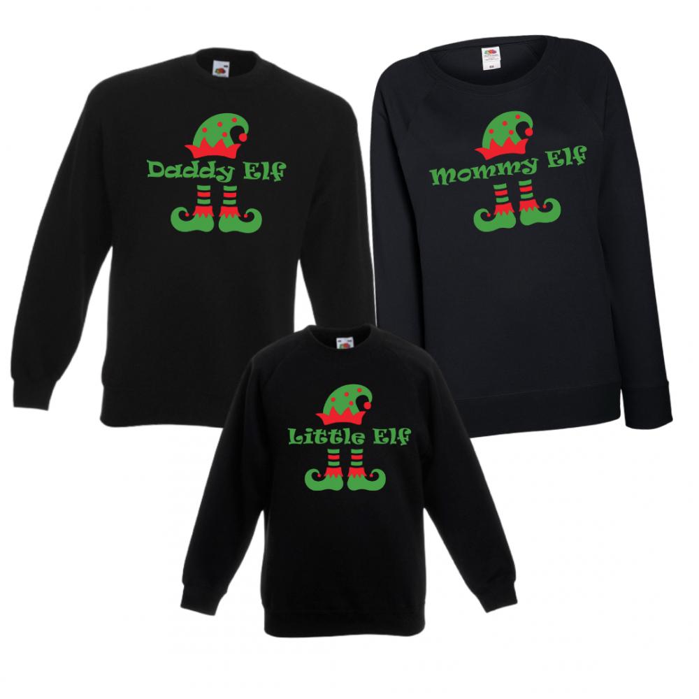 Комплект блузи в черно за мама, татко и дете ELF Family
