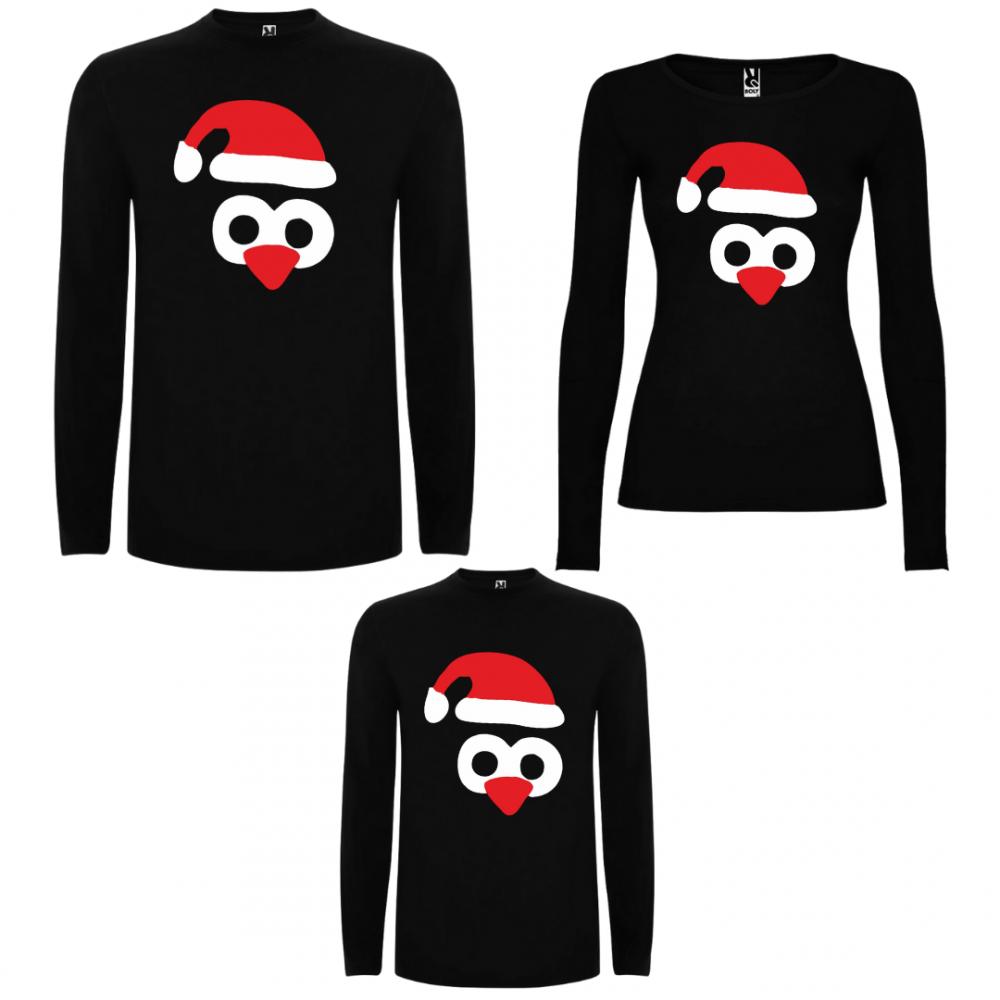 Семеен комплект тениски с дълги ръкави в черно Penguin Hats