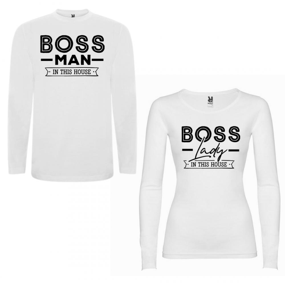 Комплект тениски с дълъг ръкав за двойки Boss Man Boss Lady