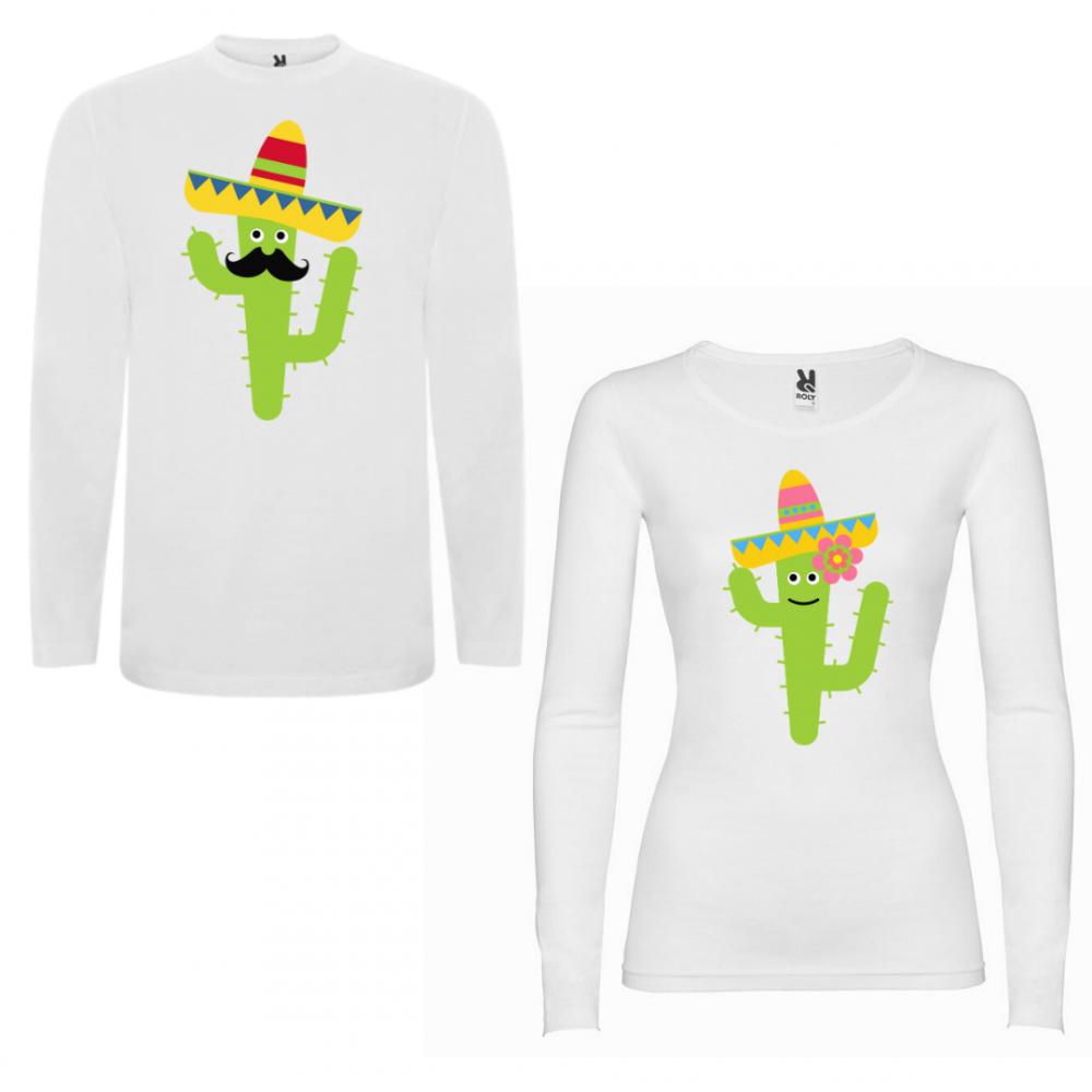 Комплект тениски с дълъг ръкав за двойки Cactus Couple