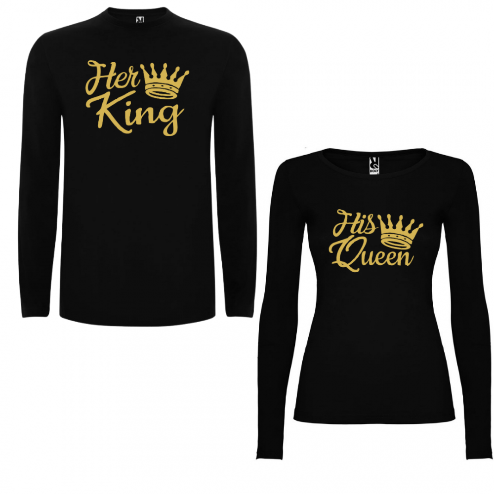Комплект тениски с дълъг ръкав за двойки Her King - His Queen