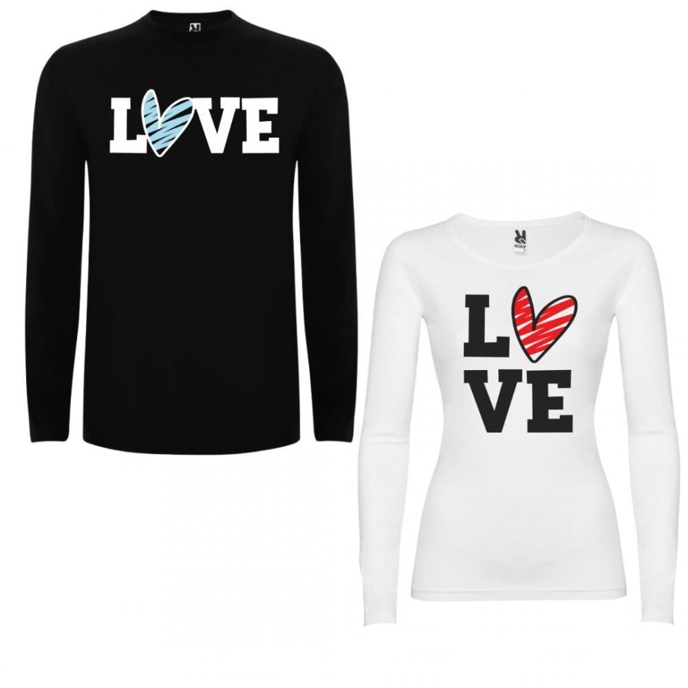 Комплект тениски с дълъг ръкав за двойки LOVE Colored