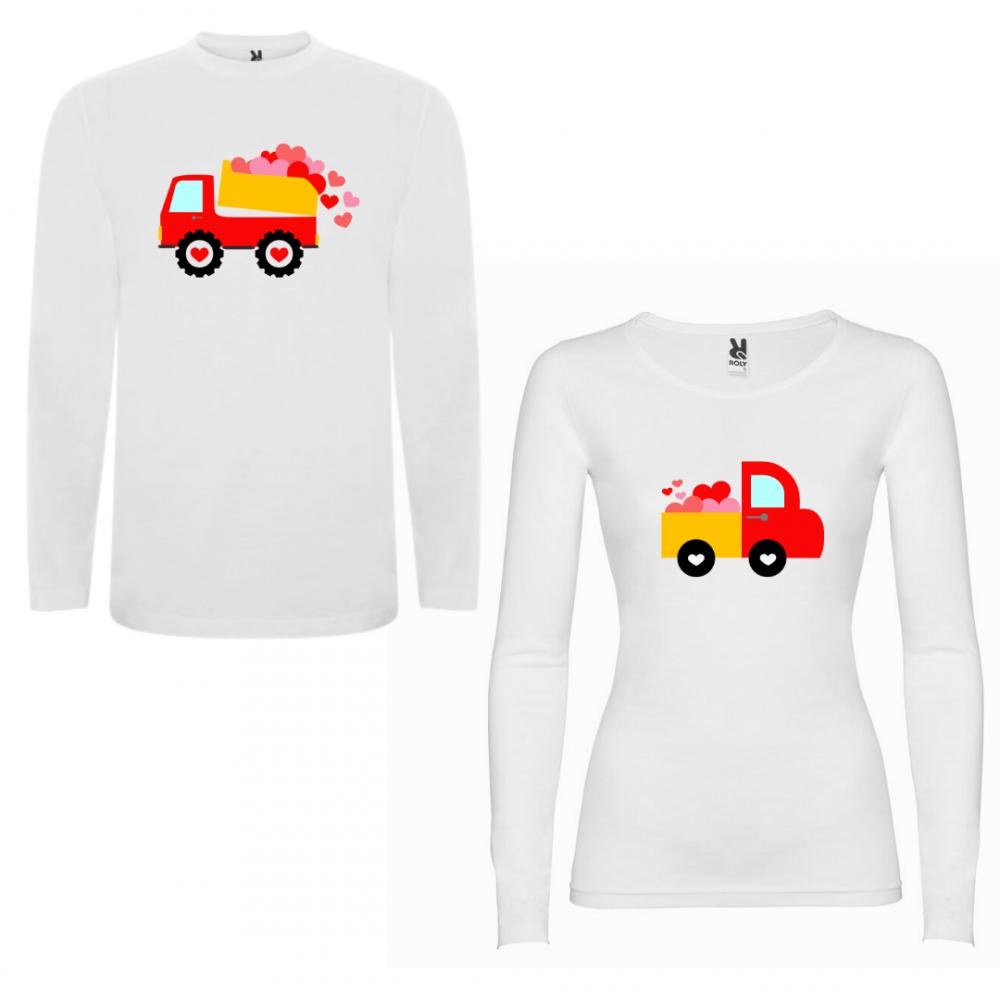 Комплект тениски с дълъг ръкав за двойки Love Trucks