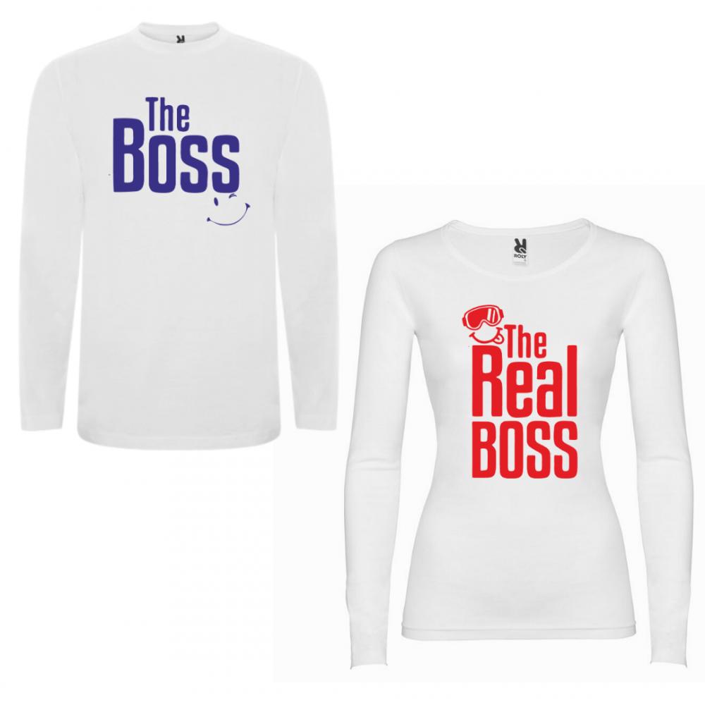 Комплект тениски с дълъг ръкав за двойки The Boss - The Real Boss New