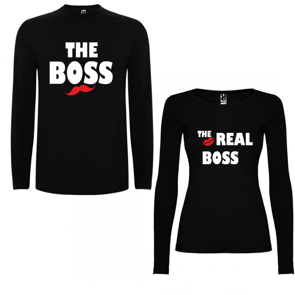 Комплект тениски с дълъг ръкав за двойки The Boss - The Real Boss в черно