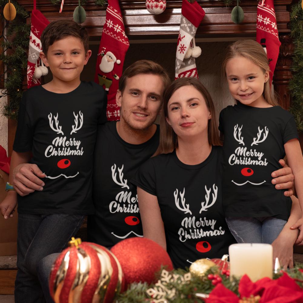 Коледен семеен комплект тениски Merry Deer