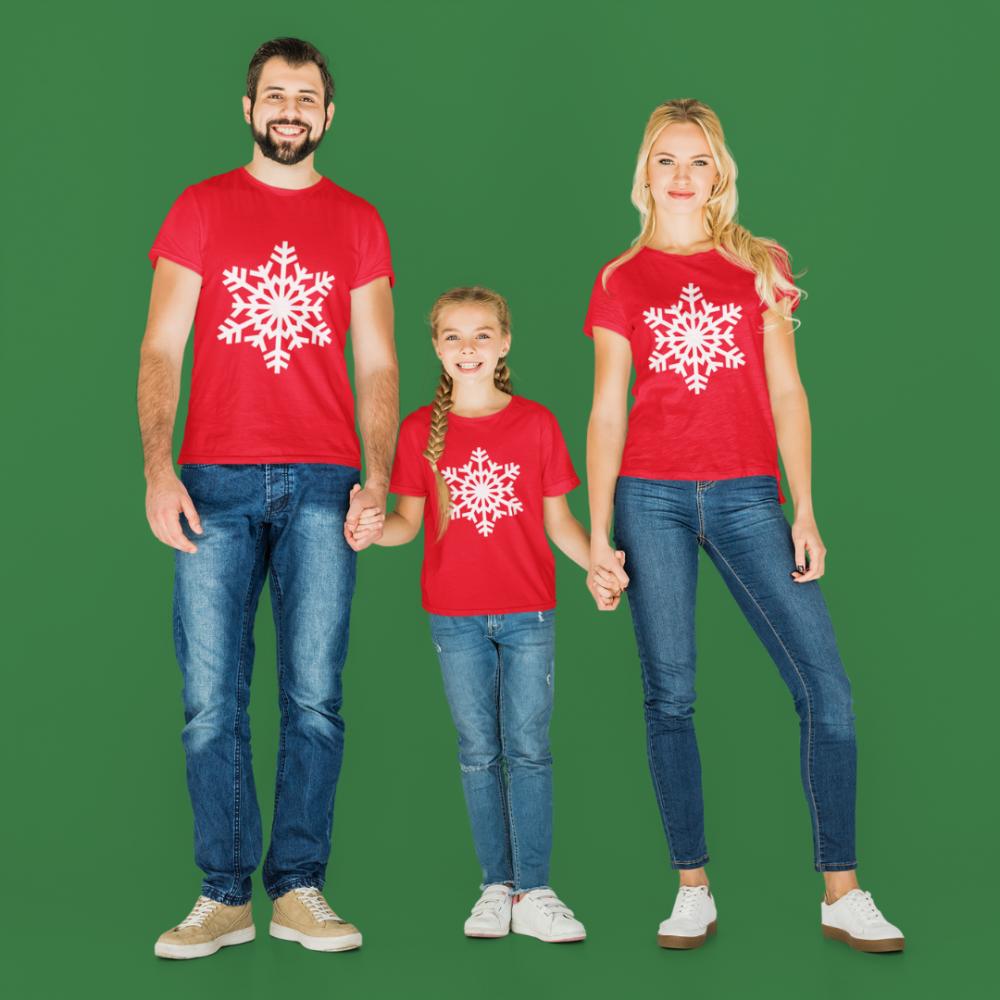 Коледен семеен комплект в червено SnowFlake