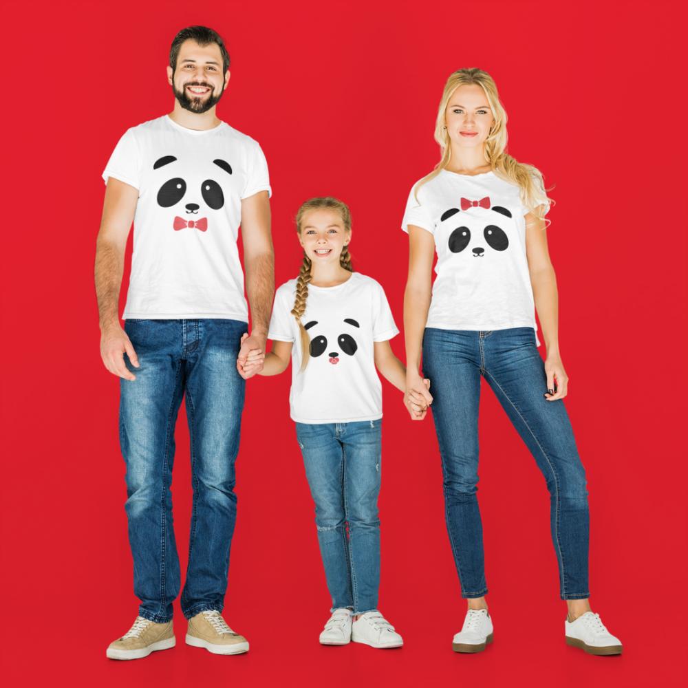 Семеен комплект тениски в бяло Panda