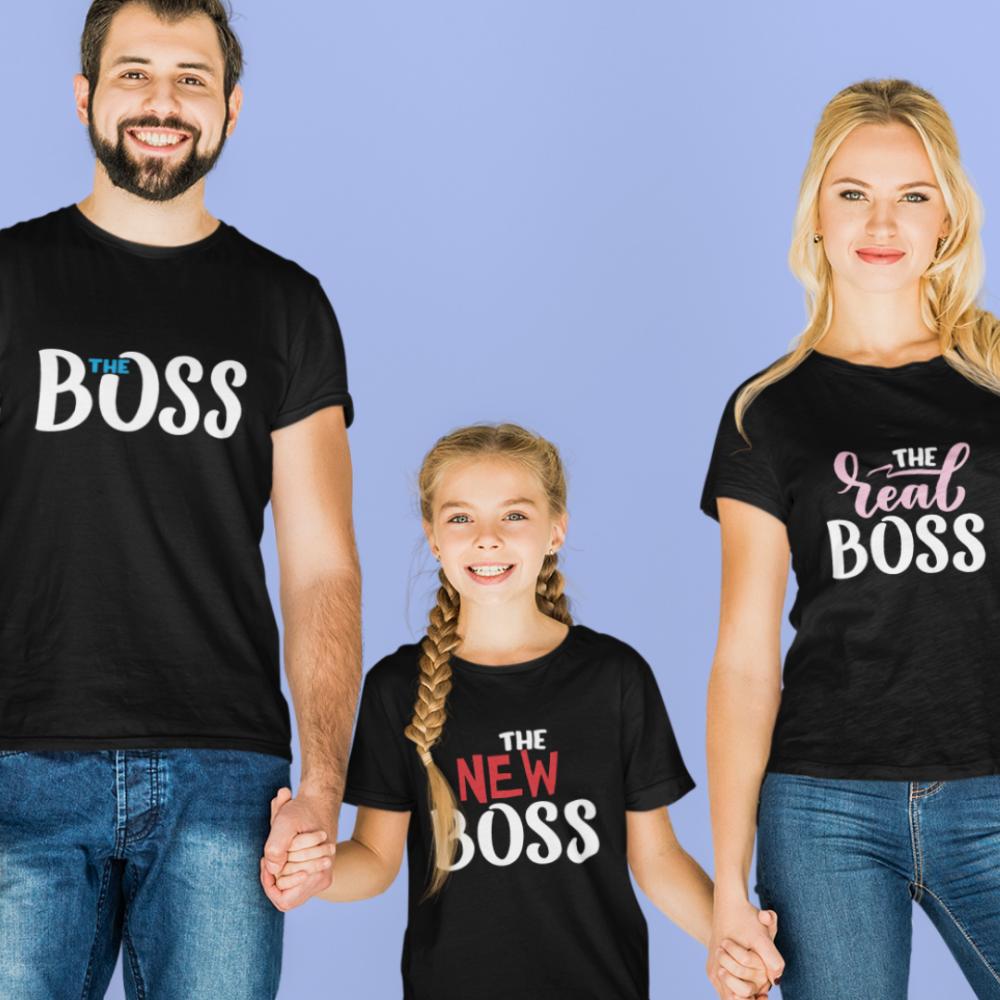 Семеен комплект в черно The Boss, The Real Boss and The New Boss