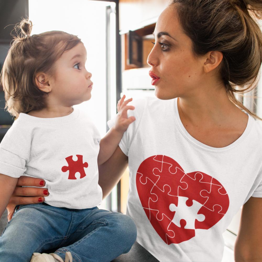Тениски за родител и дете Puzzle Hearts