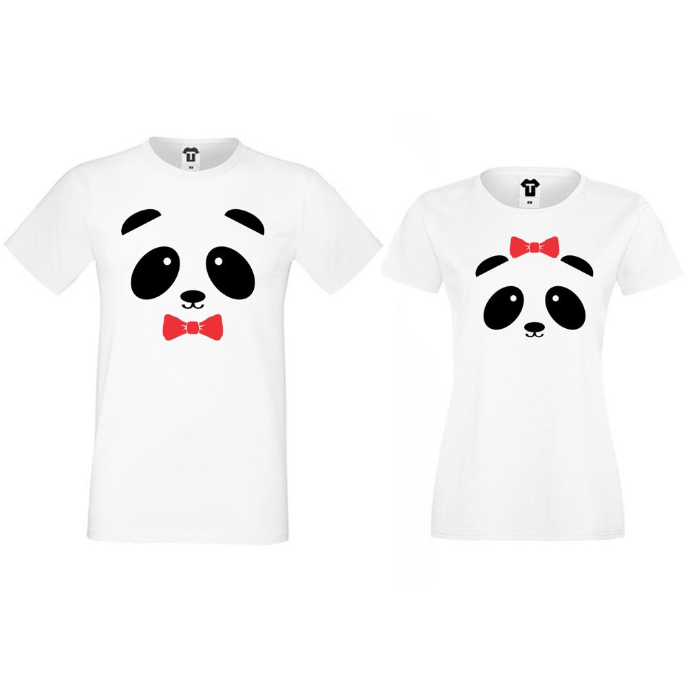 Бели тениски за двойки Sweet Panda