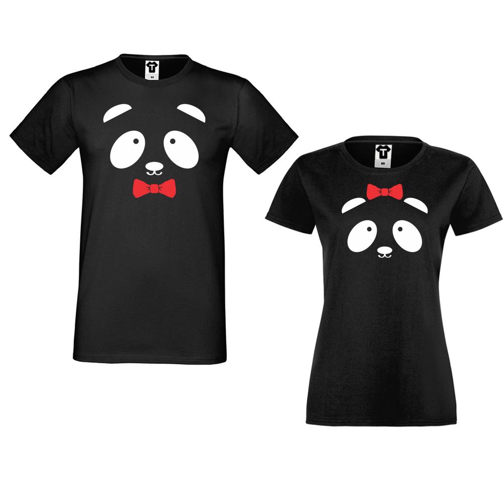 Черни тениски за двойки Sweet Panda