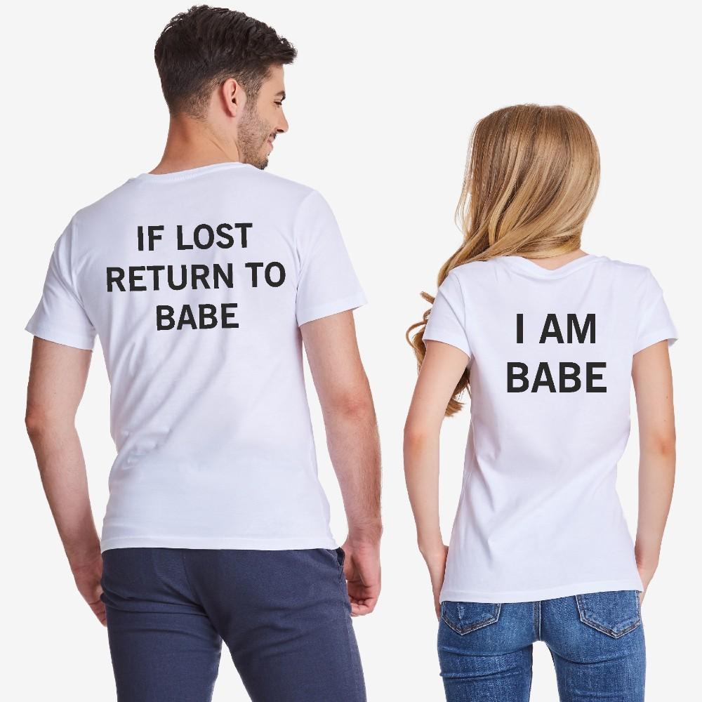 Комплект бели тениски за двойки IF LOST