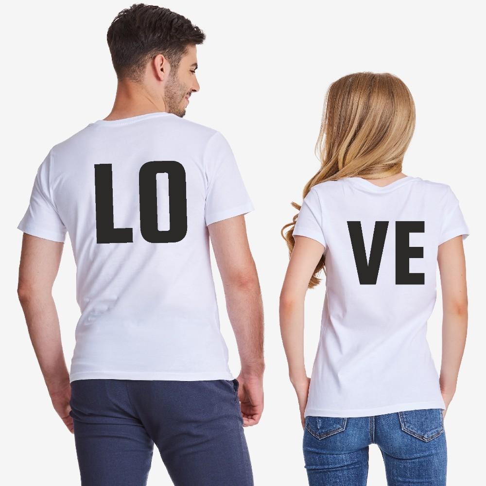 Комплект бели тениски за двойки LOVE