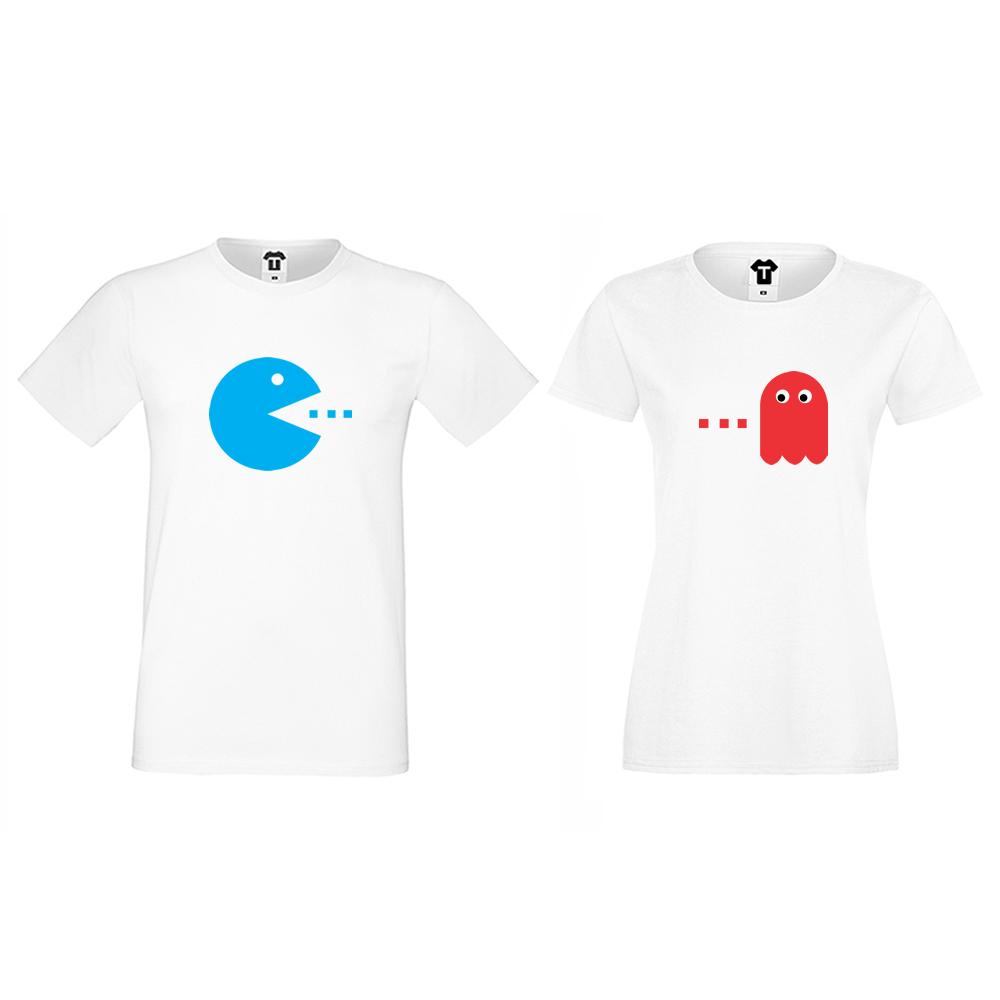 Комплект бели тениски за двойки PAC-MAN