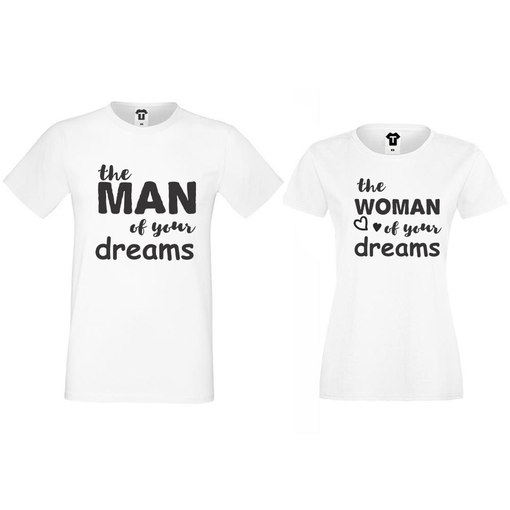 Комплект бели тениски за двойки The man/The woman of your dreams