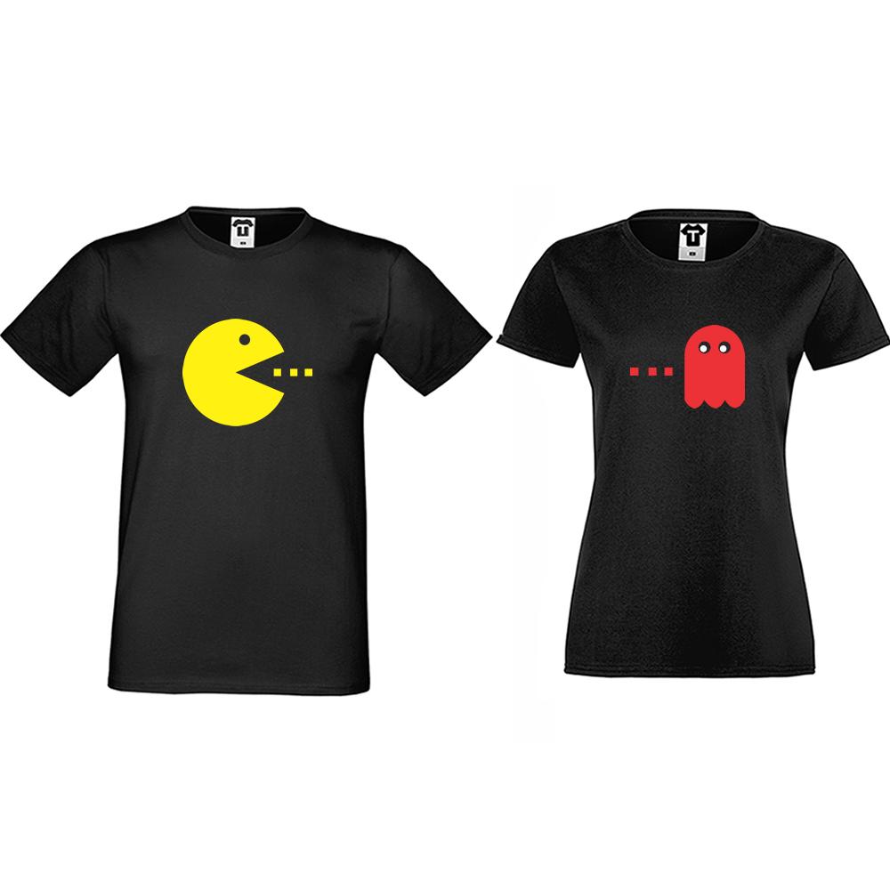 Комплект черни тениски за двойки PAC-MAN