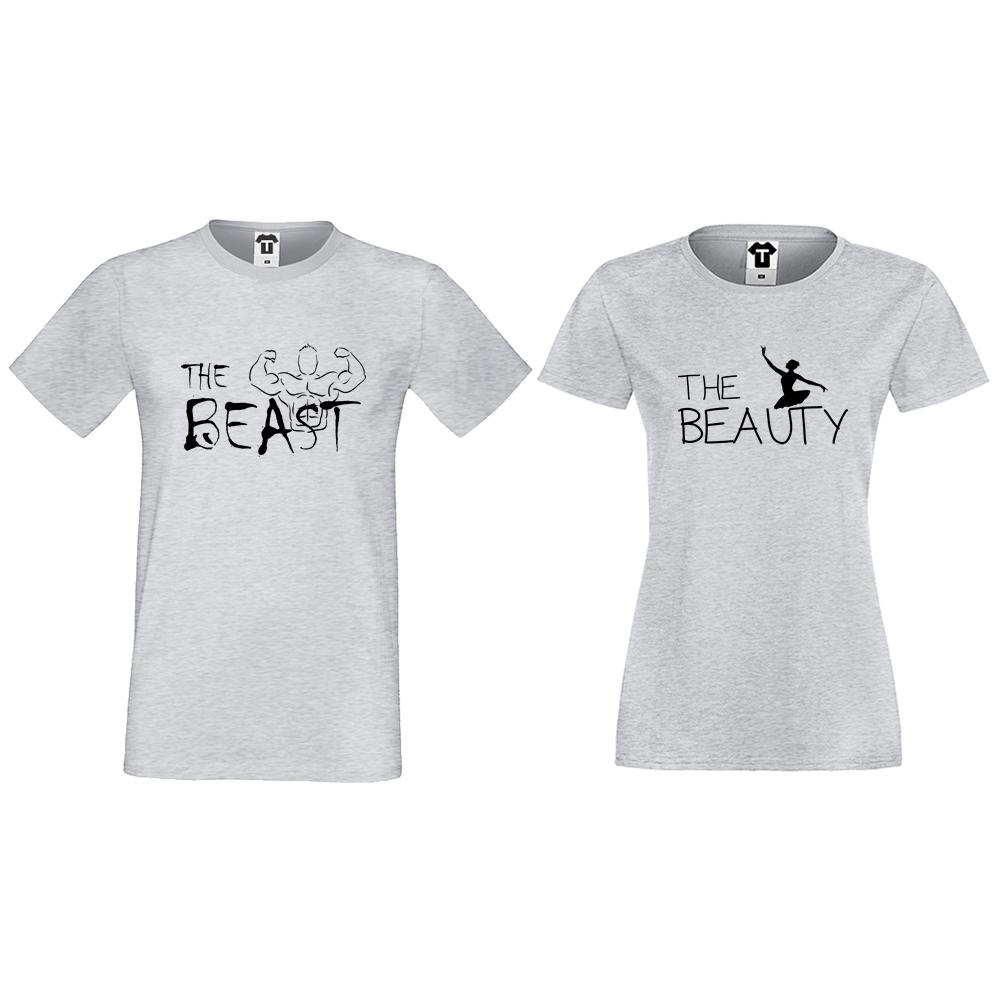 Комплект сиви тениски за двойки The Beast and The Beauty